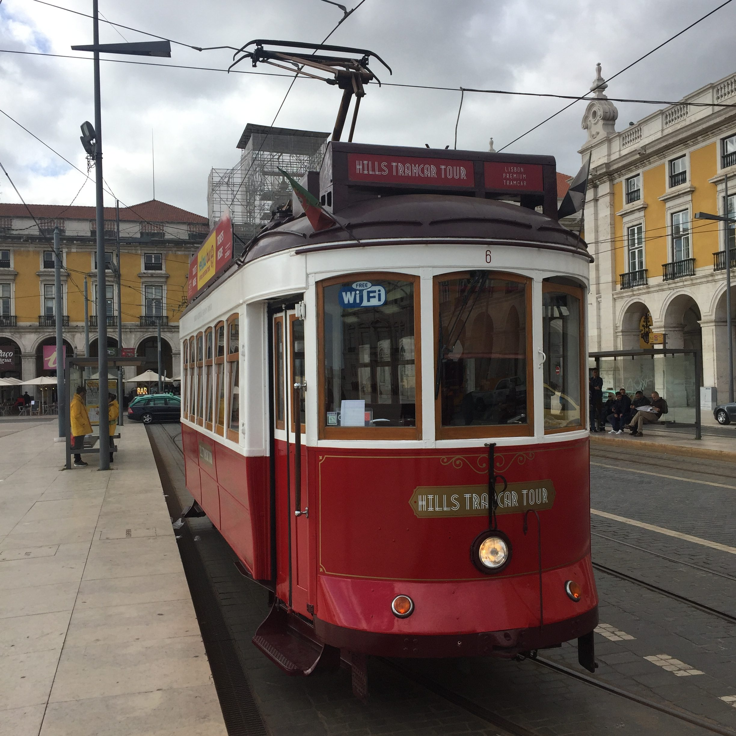 red tourist tram in lisbon