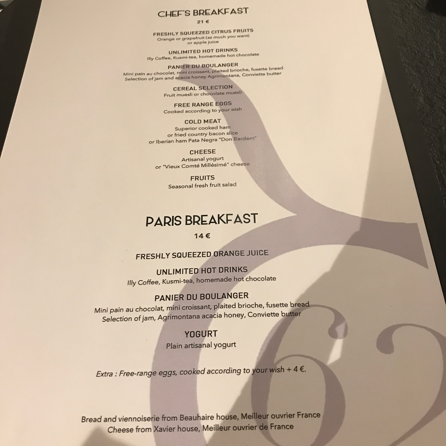 breakfast menu at sixty two restuarant in toulouse